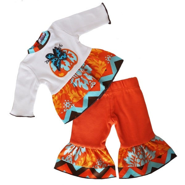 Ann Loren Multicolor Cotton Autumn Damask Pumpkin Halloween Clothing for 18-inch Dolls