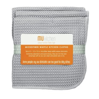 MUkitchen Storm Grey Microfiber 12-inch x 12-inch Waffle Dishcloths (Pack of 3)