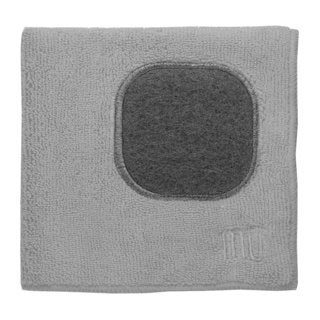MUkitchen Grey Microfiber Blend 12-inch x 12-inch Dishcloth with Built-In Scrubber