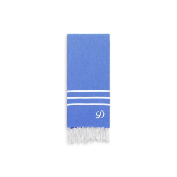 Authentic Ella Royal Blue Monogrammed Pestemal Fouta Turkish Cotton Hand/Kitchen Towel