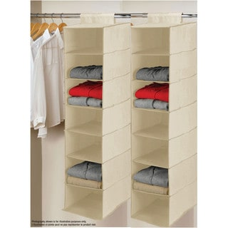 Gold Polyester 7-tier Hanging Shelves (Set of 2)