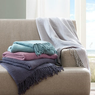 INK+IVY Reeve Ruched Throw 4-Color Option