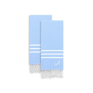 Authentic Ella Sky Blue Monogrammed Pestemal Fouta Turkish Cotton Hand/Kitchen Towel (Set of 2)