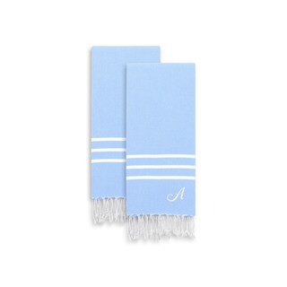 Authentic Ella Sky Blue Monogrammed Pestemal Fouta Turkish Cotton Hand/Kitchen Towel (Set of 2)