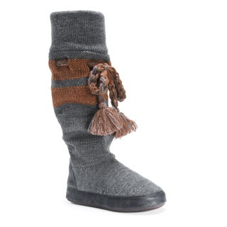 MUK LUKS Women's Angie Grey Acrylic and Polyester Slippers