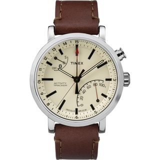 Timex TW2P92400ZA Metropolitan+ Stainless Steel/Brass/Mineral Brown Stitched Leather Strap Unisex Watch