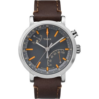 Timex Unisex Metropolitan+ Dark Brown Leather and Stainless Steel Watch