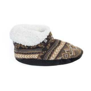 Muk Luks Women's Brown Acrylic/Polyester Bootie Slippers