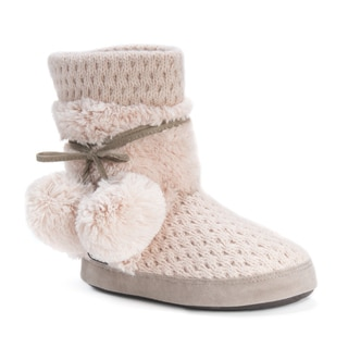 Muk Luks Women's Delanie Pink Acrylic/Polyester/Faux Fur Slippers