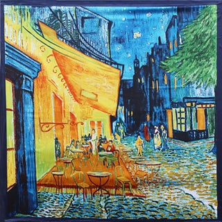 Modern Art Cafe Dining Scene 36-inch Square Silk Touch Scarf