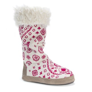 MUK LUKS Women's Maleah Pink/White Polyester/Acrylic Slippers