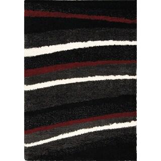 Shilo Red/ White Stripes Rug (6'7 x 9'6)