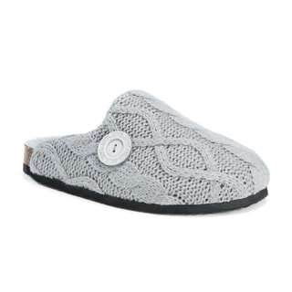 MUK LUKS Women's Grey Acrylic and Polyester Sherpa-Lined Clog