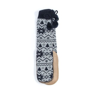 Muk Luks Women's Acrylic/Polyester Slipper Socks with Pom-poms