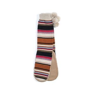Muk Luks Women's White Acrylic/Polyester Slipper Socks with Poms