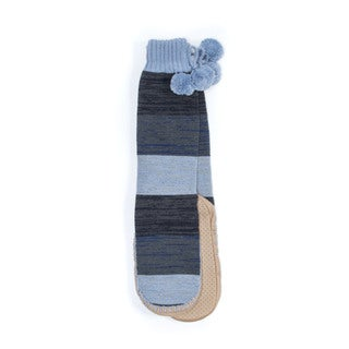 Muk Luks Women's Blue Acrylic/Polyester Slipper Socks with Poms