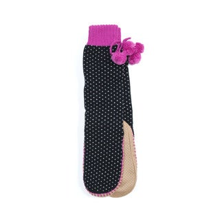 Muk Luks Women's Black Acrylic/Polyester Slipper Socks with Poms