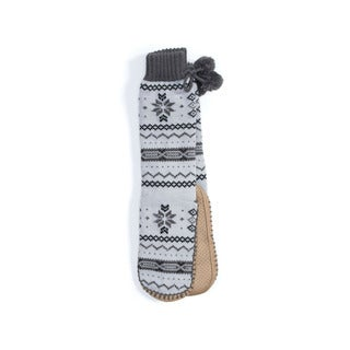 Muk Luks Women's Grey Acrylic/Polyester Slipper Socks with Poms