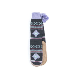 Muk Luks Women's Purple Acrylic/Polyester Slipper Socks with Poms