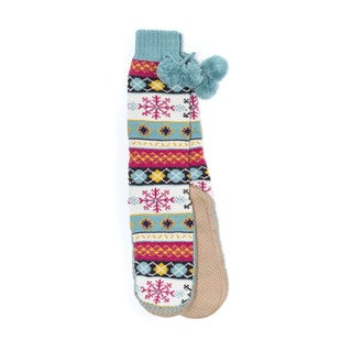Muk Luks Women's Acrylic and Polyester Slipper Socks with Poms