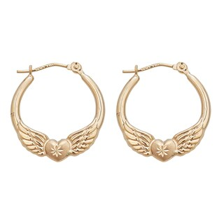 Decadence 14k Yellow Gold Wings and Heart Hoop Earrings