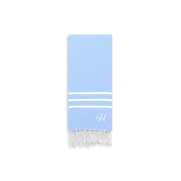 Authentic Ella Sky Blue Monogrammed Pestemal Fouta Turkish Cotton Hand/Kitchen Towel