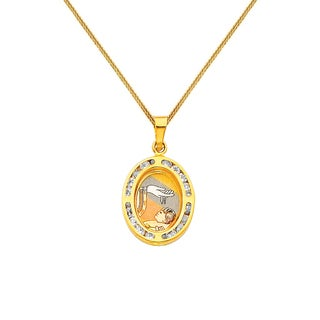 14k Tricolor Gold Baptism Pendant Necklace Free Shipping Today