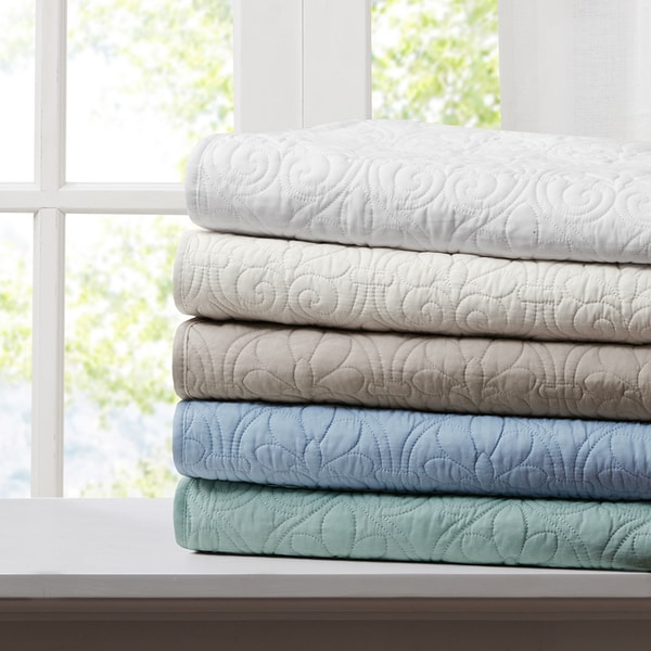 Madison Park Mansfield Oversized Quilted Throw 5-Color Option - Free