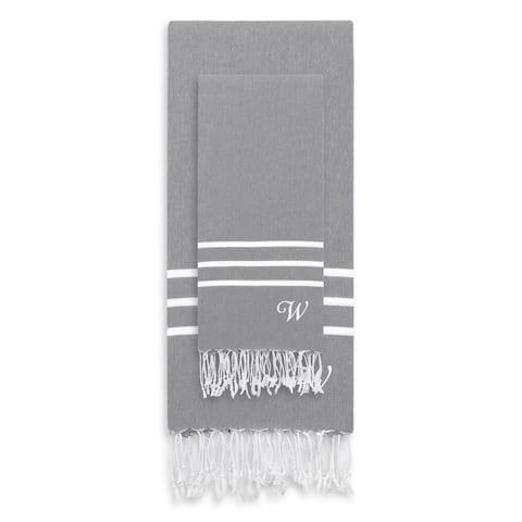 Authentic Ella Grey Monogrammed Pestemal Fouta Turkish Cotton Beach and Head Towel Set (Set of 2)