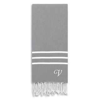 Authentic Ella Grey Monogrammed Pestemal Fouta Turkish Cotton Bath/ Beach Towel