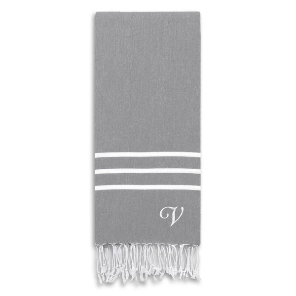 Authentic Ella Grey Monogrammed Pestemal Fouta Turkish Cotton Bath/ Beach Towel