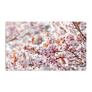 KESS InHouse Iris Lehnhardt 'Flowering Plum Tree' Pink Blossoms Artistic Aluminum Magnet