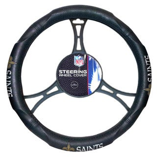 NFL Saints Black Rubber Car Steering Wheel Cover