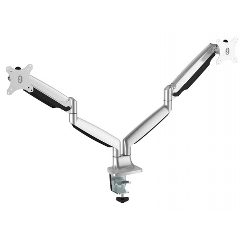 Ergomax Silver Aluminum Interactive LCD VESA Dual-monitor Desk Mount