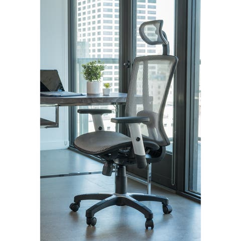 ErgoMax Office Fully Meshed Ergonomic Height Adjustable Black Office Chair w/Armrests & Headrest, 52 Inch Max Height