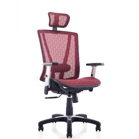 ErgoMax Office Fully Meshed Ergonomic Height Adjustable Red Office Chair w/Armrests & Headrest, 52 Inch Max Height