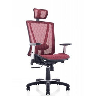 Ergomax Fully Meshed Red Ergo Office Chair with Headrest