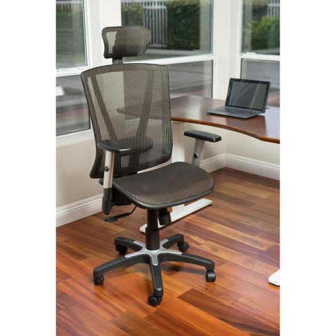 ErgoMax Office Fully Meshed Ergonomic Height Adjustable Brown Office Chair w/Armrests & Headrest, 52 Inch Max Height