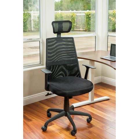 ErgoMax Office Meshed Ergonomic Height Adjustable Black Office Chair w/Headrest, 50.6 Inch Max Height