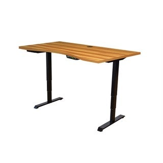 Ergomax Light Brown/Black 55-inch x 28-inch Ergonomic Electric Height-adjustable Sit/Stand Desk Set