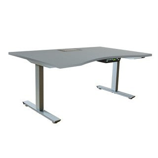 Ergomax Grey Metal/Melamine/Particle Board Adjustable Desk Set