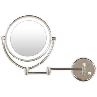 Chrome Wall-mount LED Light 7x/1x Magnification Makeup Mirror Plus Free 3-in-1 Compact Mirror