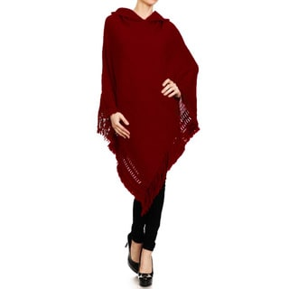 JED Women's Hooded Poncho Sweater with Fringed Edges