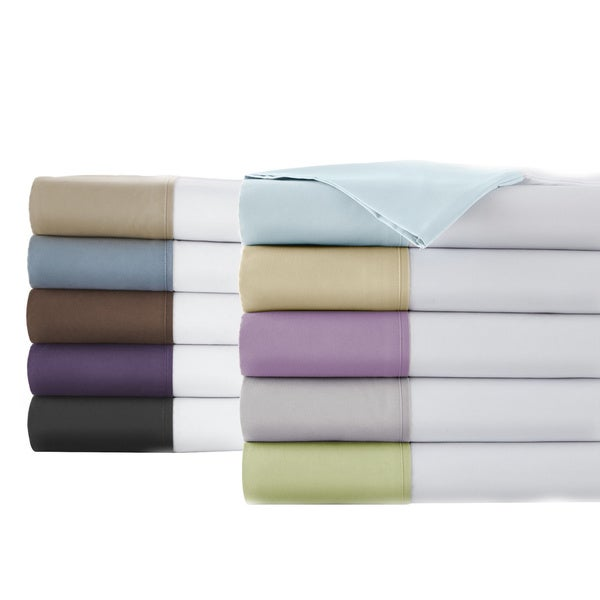 Fun and Trendy Deep Pocket Sheet Set with a 6-inch colorful hem on White