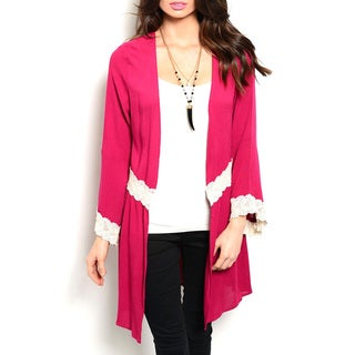 JED Women's Rayon 3/4-sleeve Cardigan with Lace Trim Detailing