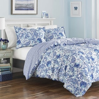 Link to Poppy & Fritz Brooke Cobalt and White Paisley Cotton Duvet Cover Set Similar Items in Duvet Covers & Sets