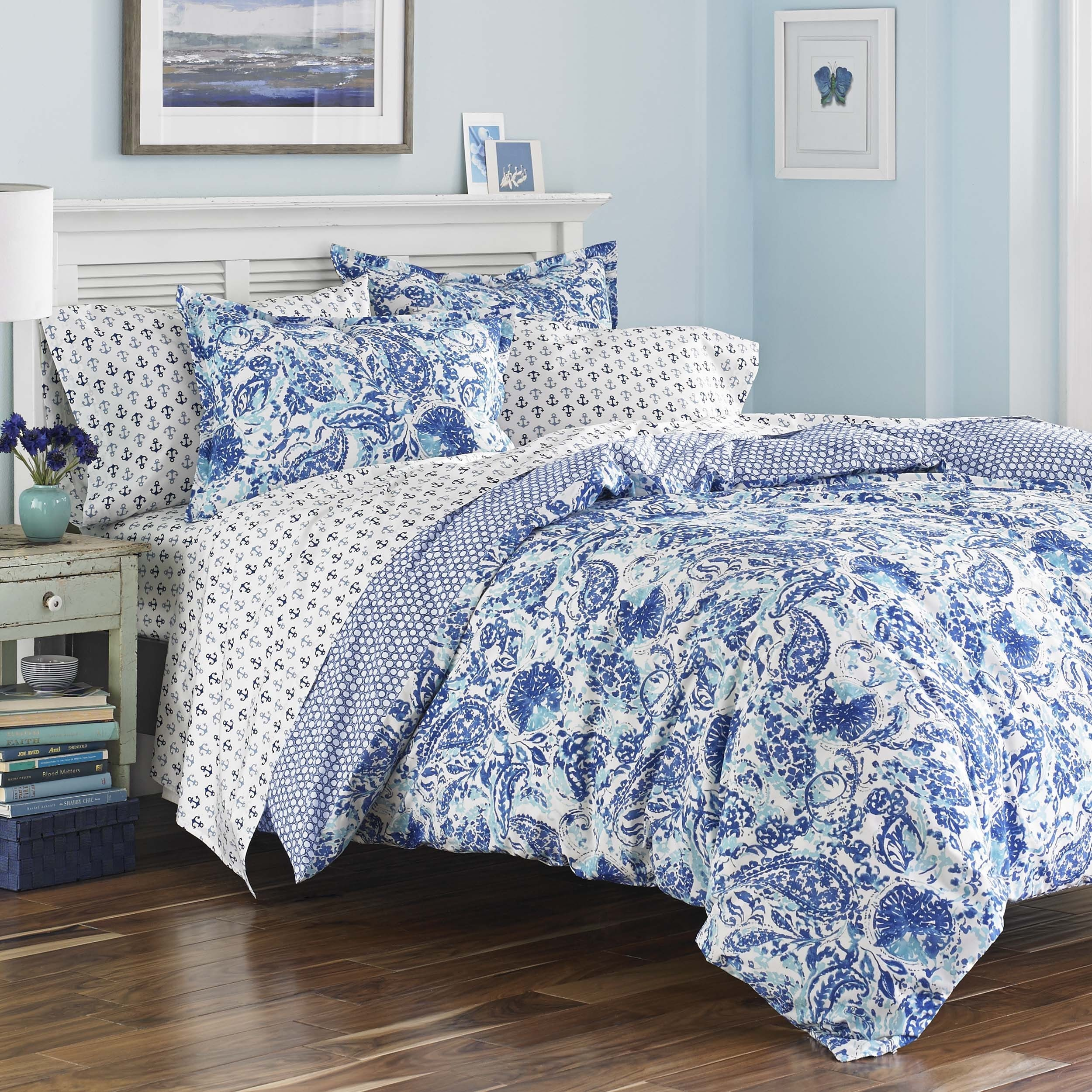 Poppy Fritz Brooke Cobalt And White Paisley Cotton Duvet Cover Set