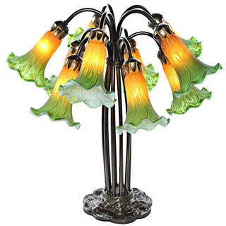 River of Goods Green/Amber Glass/Metal 10-lily Hand-painted Downlight Table Lamp