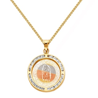 14k Tri-tone Solid Gold Cubic Zirconia 3/4-inch Virgin of Guadalupe Religious Pendant and 0.8 mm Square Wheat Chain