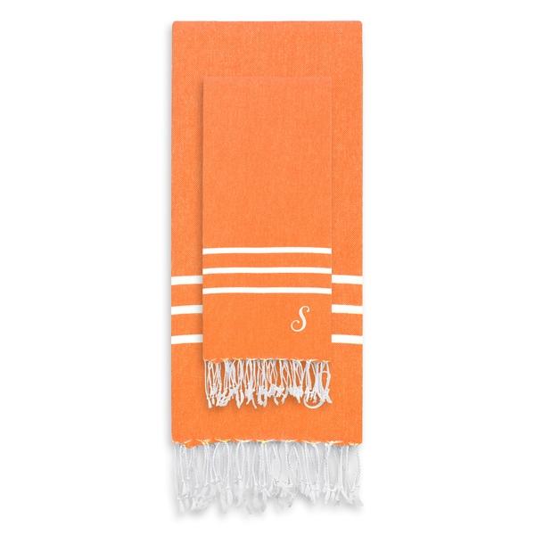 Authentic Ella Dark Orange Monogrammed Pestemal Fouta Turkish Cotton Beach and Head Towel Set (Set of 2)